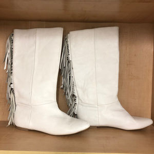 White Fringe Leather Cowgirl Boots